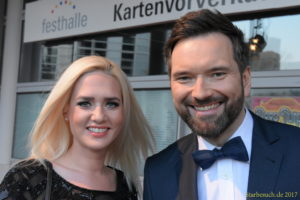Frankfurt Germany, April 3rd 2017: Sarah Knappik and Ingo Nommsen arriving at the PRG LEA Live Entertainment Award at Festhalle. Frankfurt, Germany