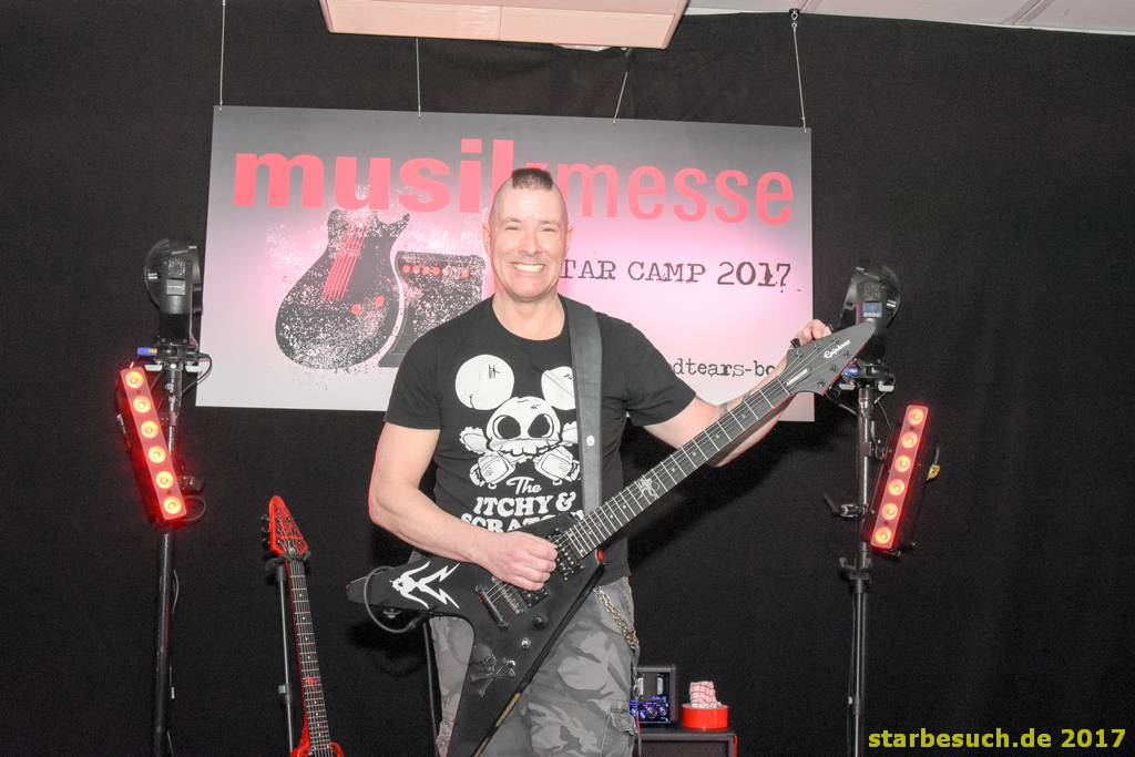 Frankfurt, Germany. 6th April 2017. Jeff Waters, guitarist of the canadian band Annihilator preparing for his gig in the guitar camp at Musikmesse in Frankfurt, Germany