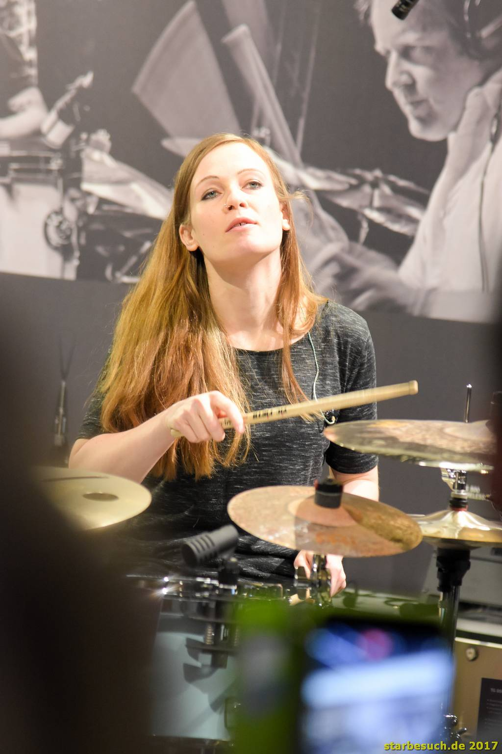 Frankfurt, Germany. 6th April 2017. Andrea Niles, drummer at Musikmesse in Frankfurt, Germany