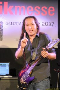 Frankfurt, Germany. 6th April 2017.Herman Li, guitarist of the band Dragonforce preparing for his gig in the guitar camp at Musikmesse in Frankfurt, Germany