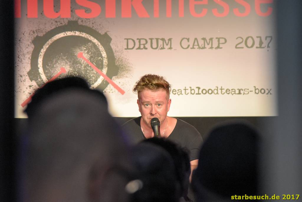 Frankfurt, Germany. 8th April 2017. Karl Brazil, drummer (Robbie Williams) at the drum camp + signing session at Musikmesse in Frankfurt, Germany