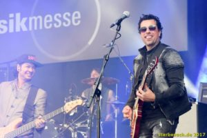 Frankfurt, Germany. 8th April 2017. Steve Stevens performing with Gus G. and Franky Perez on the Center Stage at Musikmesse in Frankfurt, Germany