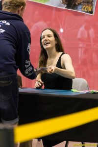 July 1st 2017. Stuttgart, Germany. Valene Kane, Lyra Erso in Star Wars: Rogue One, signing autographs at Comic Con Stuttgart.