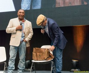 "July 1st 2017. Stuttgart, Germany. US actors Dirk Benedict and Herbert Jefferson, Jr. during their ""A-Team"" panel at Comic Con Stuttgart."