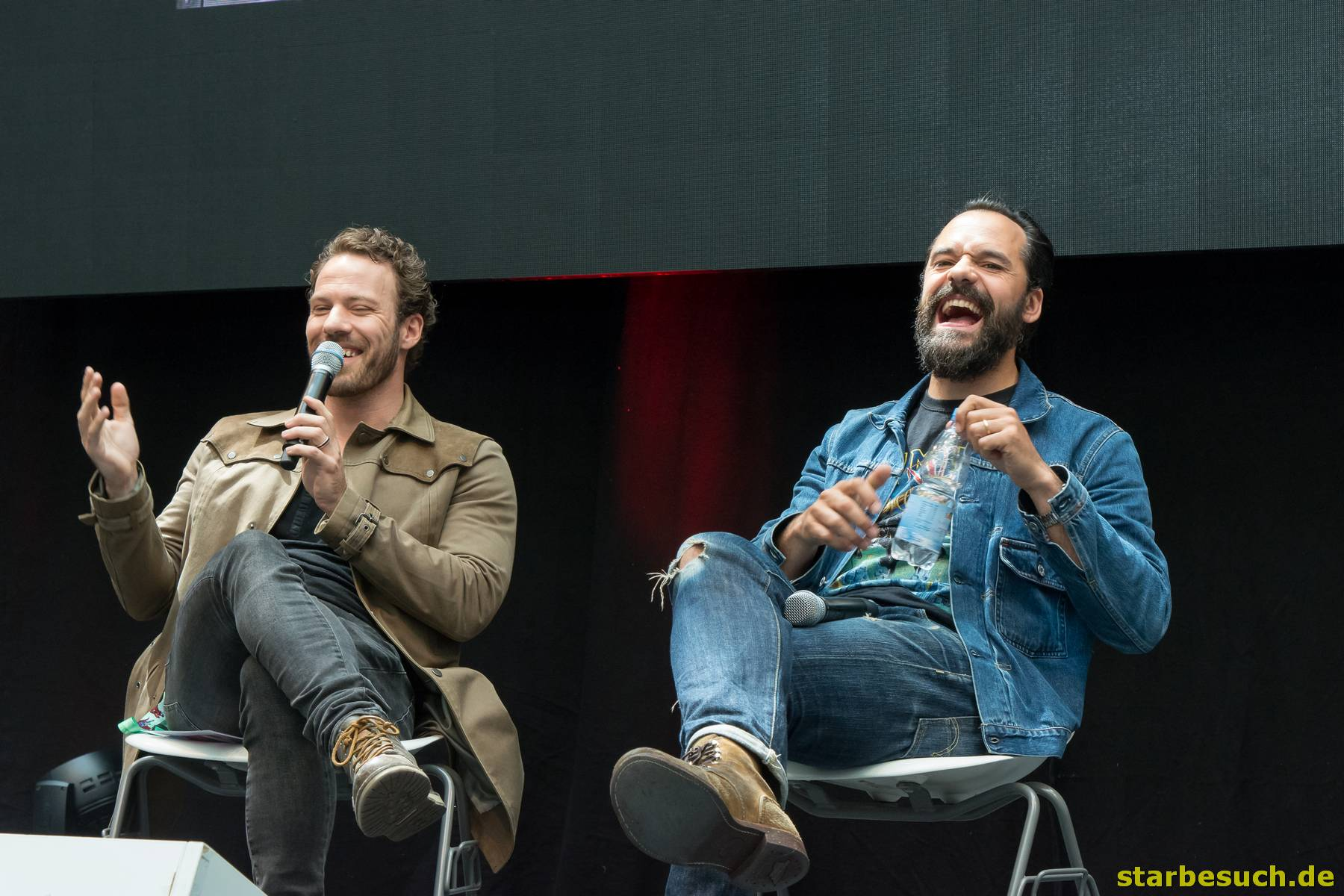 July 1st 2017. Stuttgart, Germany. Actors Falk Hentschel and Caspar Crump had fun during their DC Legends of Tomorrow panel at Comic Con.