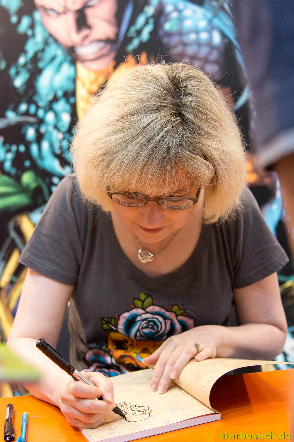July 1st 2017. Stuttgart, Germany. .US comic artist Stephanie Gladden (Simpsons, Bongo Comics). Comic-Con Stuttgart invites fans and cos-players to meet celebrities and comic artists in panels, Q&As, photo and signing sessions