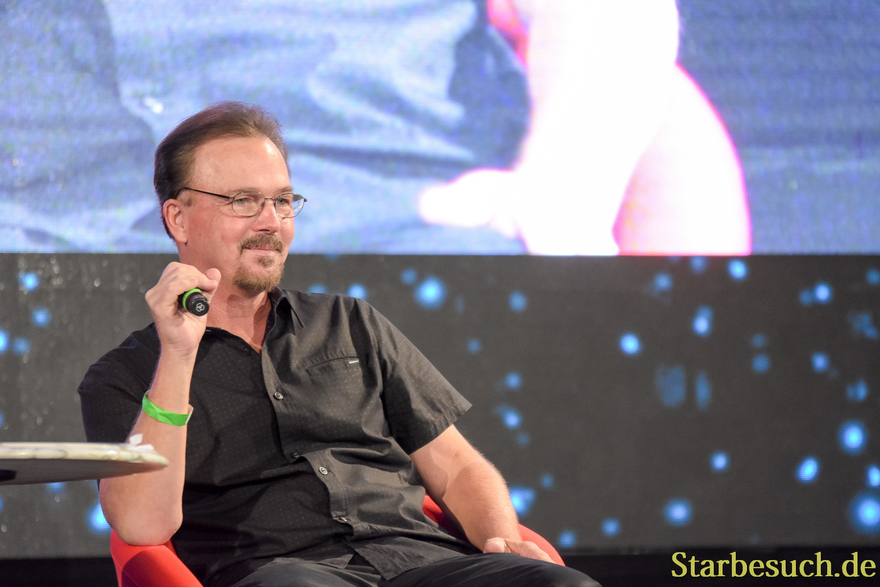 September 2nd, 2017. Mannheim, Germany. Christopher Doohan, son of James Doohan, at his panel at Startopia. Star Trek Actors and Trekkies get together at Startopia Convention 2017 in Mannheim, Germany