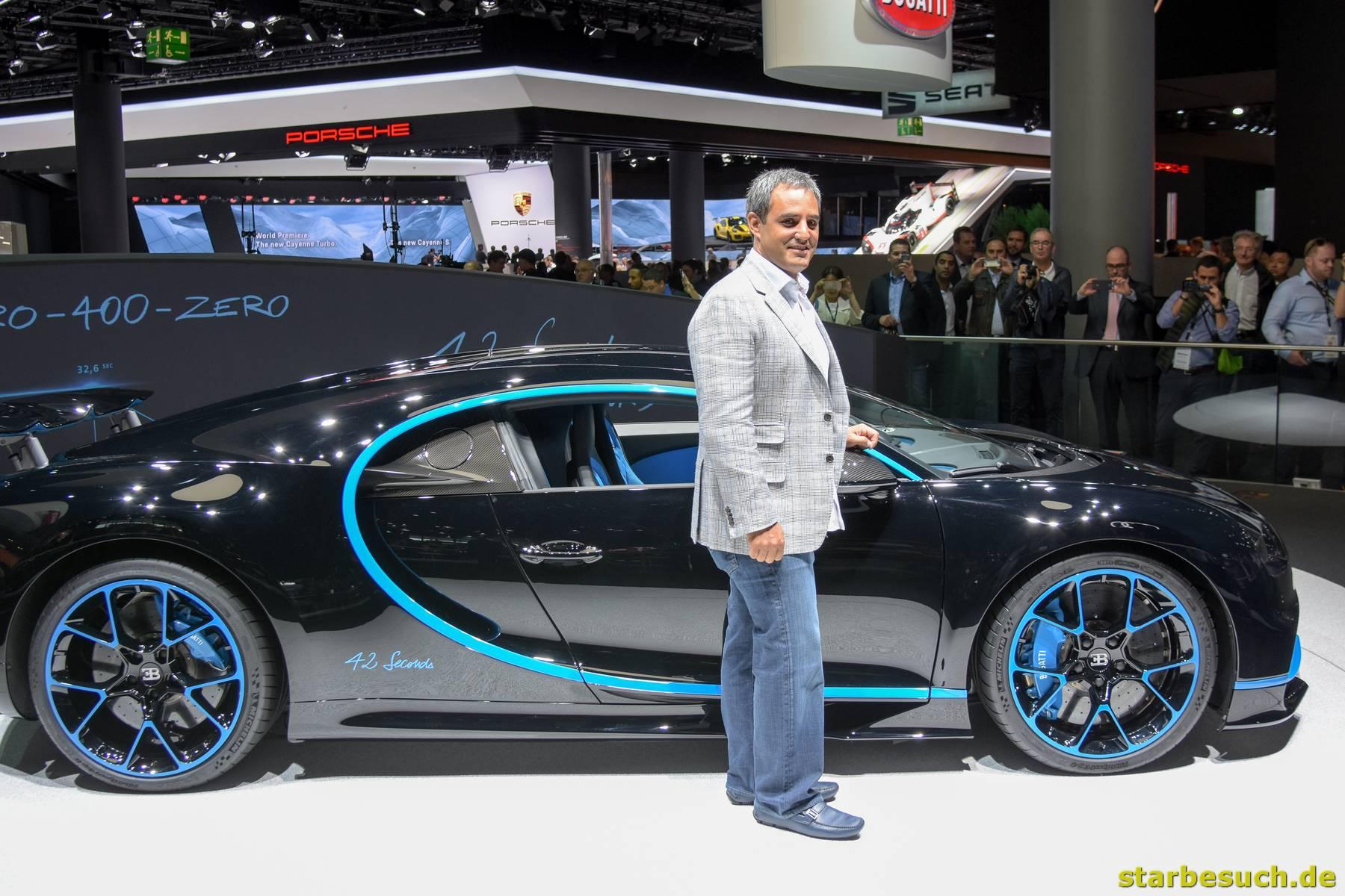 Juan Pablo Montoya vor dem Bugatti Chiron