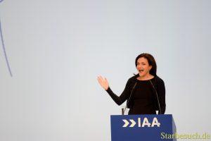 Sheryl Sandberg., IAA Eröffnungsfeier