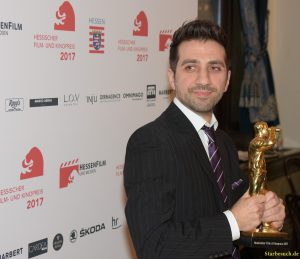 Özgür Yildirim, german director, winner best movie award for Nur Gott kann mich richten, Hessischer Film- und Kinopreis 2017, Alte Oper Frankfurt/Main, Germany