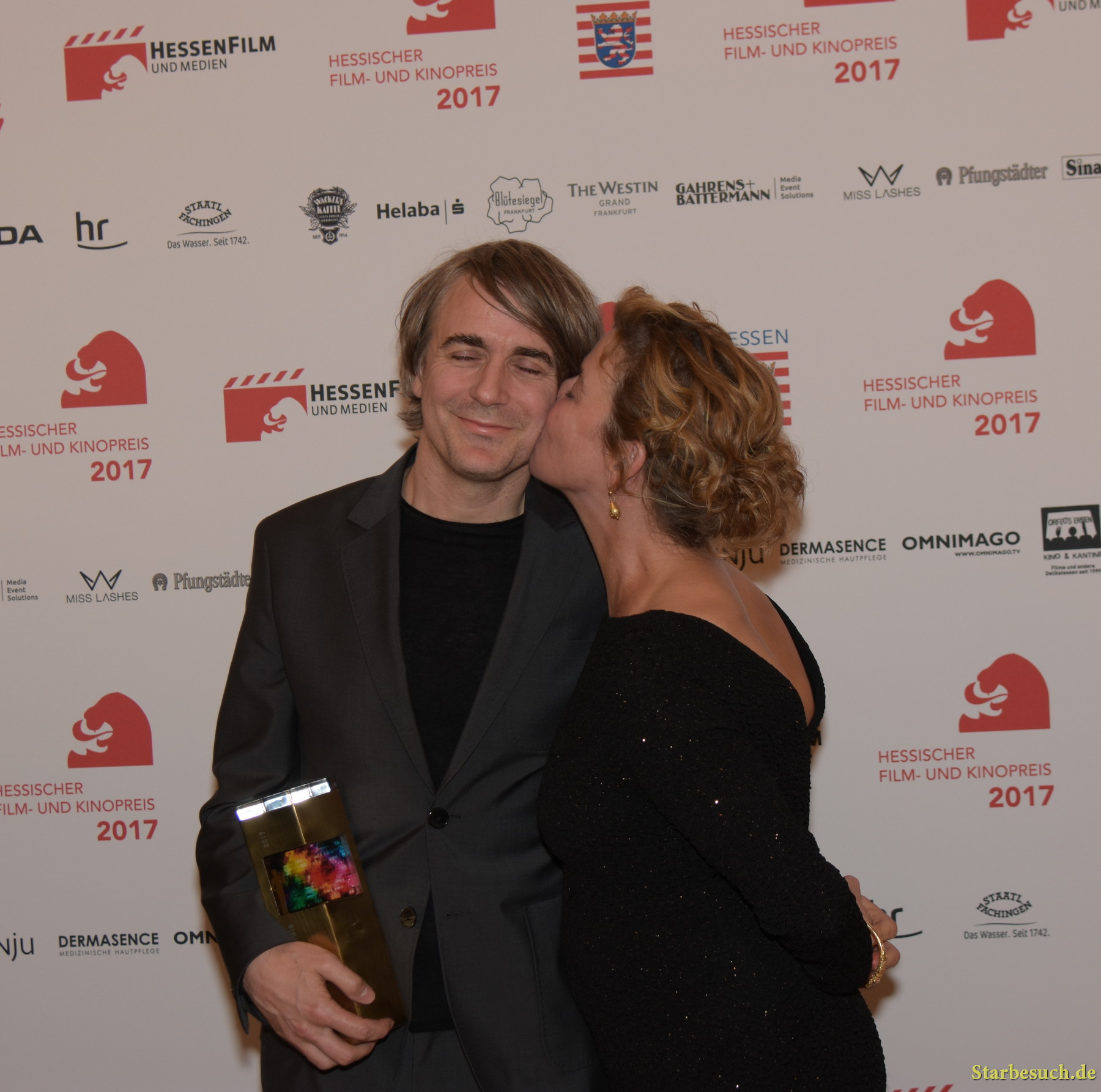 Jens Harzer (* 1972), won Best Actor. With  Margarita Broich at the Hessischer Film- und Kinopreis 2017, Alte Oper Frankfurt/Main, Germany