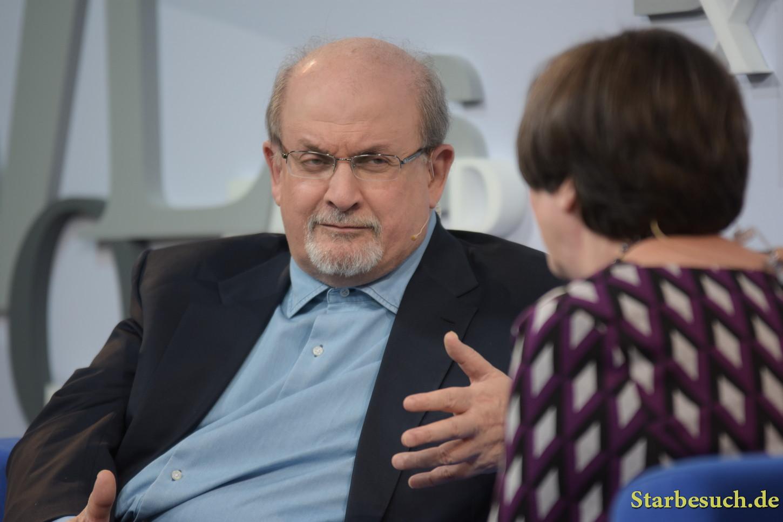 Salman Rushdie, novelist, at 'Blaues Sofa' regarding his book 'The Golden House', Frankfurt Bookfair / Buchmesse Frankfurt 2017