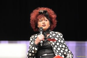 Bonn, Germany. 20th Oct 2017. Patricia Quinn (* 1944), actress - The Horror Picture Show - talking about her experiences during a panel at Fear Con, a horror fan convention taking place in the Maritim Hotel Bonn between October 20-22nd, 2017.