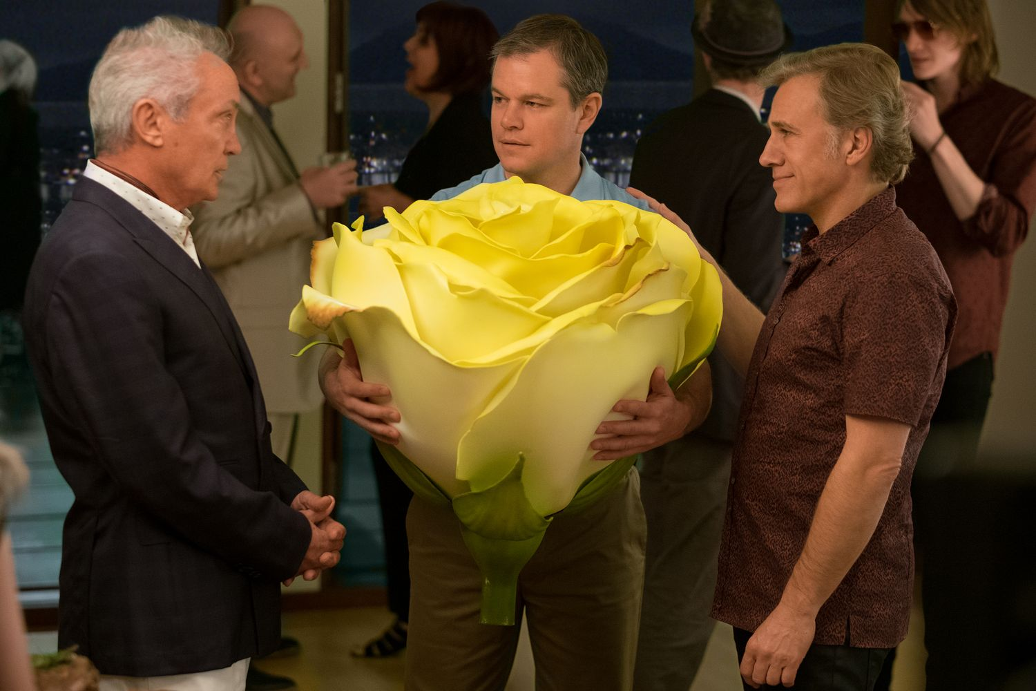 Udo Kier plays Konrad, Christoph Waltz plays Dusan and Matt Damon plays Paul in Downsizing from Paramount Pictures.