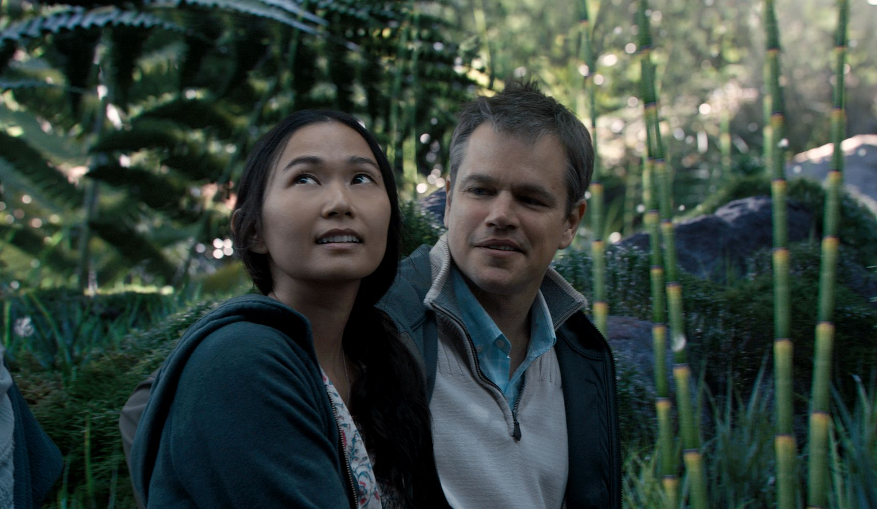 Matt Damon plays Paul Safranek and Hong Chau plays Ngoc Lan Tran in Downsizing from Paramount Pictures.