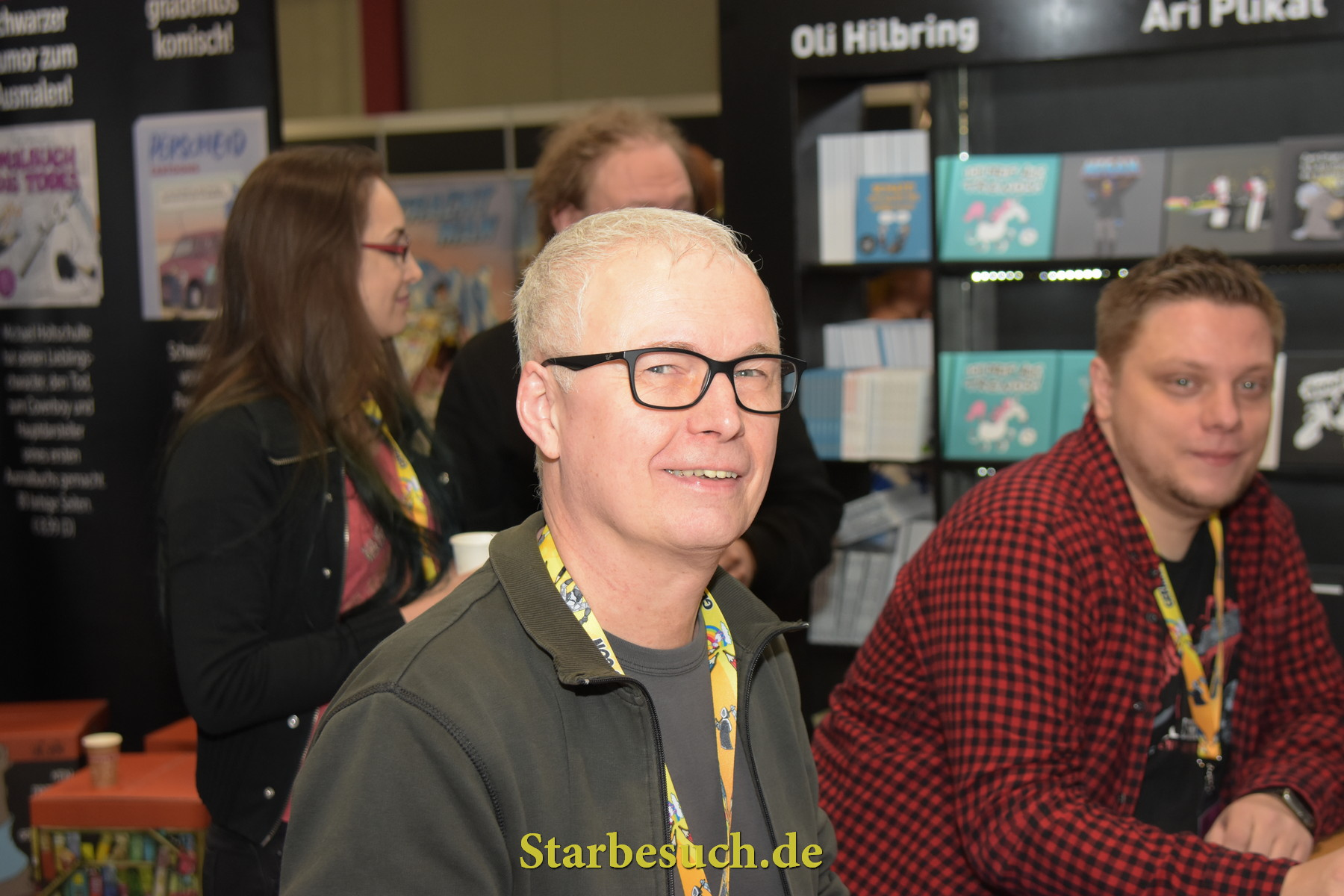 Dortmund, Germany - December 9th 2017: German cartoonist Ari Plikat (* 1958 - Titanic, Eulenspiegel, Zitty, Pardon, taz, Stern) at German Comic Con Dortmund.