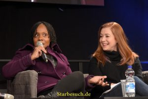 Dortmund, Germany - December 9th 2017: US Actress Indigo (*1984, Rona on Buffy The Vampire Slayer, Vaneeta on Weeds) wth Alyson Hannigan at German Comic Con Dortmund.