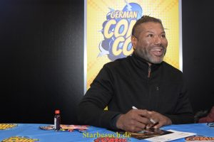 Dortmund, Germany - December 9th 2017: US Actor Christopher Judge (* 1964, Teal'c in the sci-fi tv series Stargate SG-1, Andromeda) signing autographs at German Comic Con Dortmund.