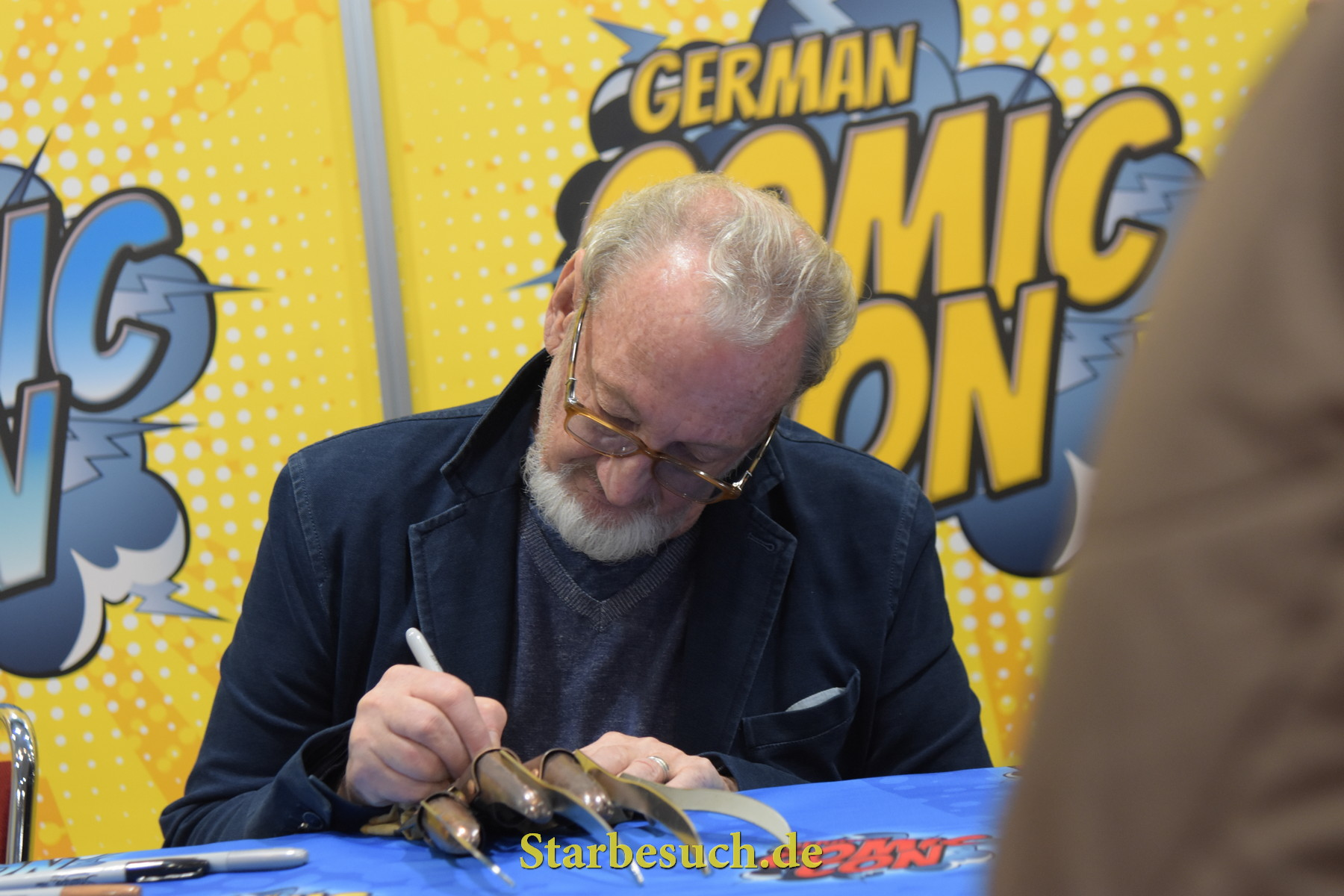 Dortmund, Germany - December 9th 2017: US Actor Robert Englund (* 1947, Freddy Krueger in the Nightmare on Elm Street film series, Freddy vs. Jason) at German Comic Con Dortmund.