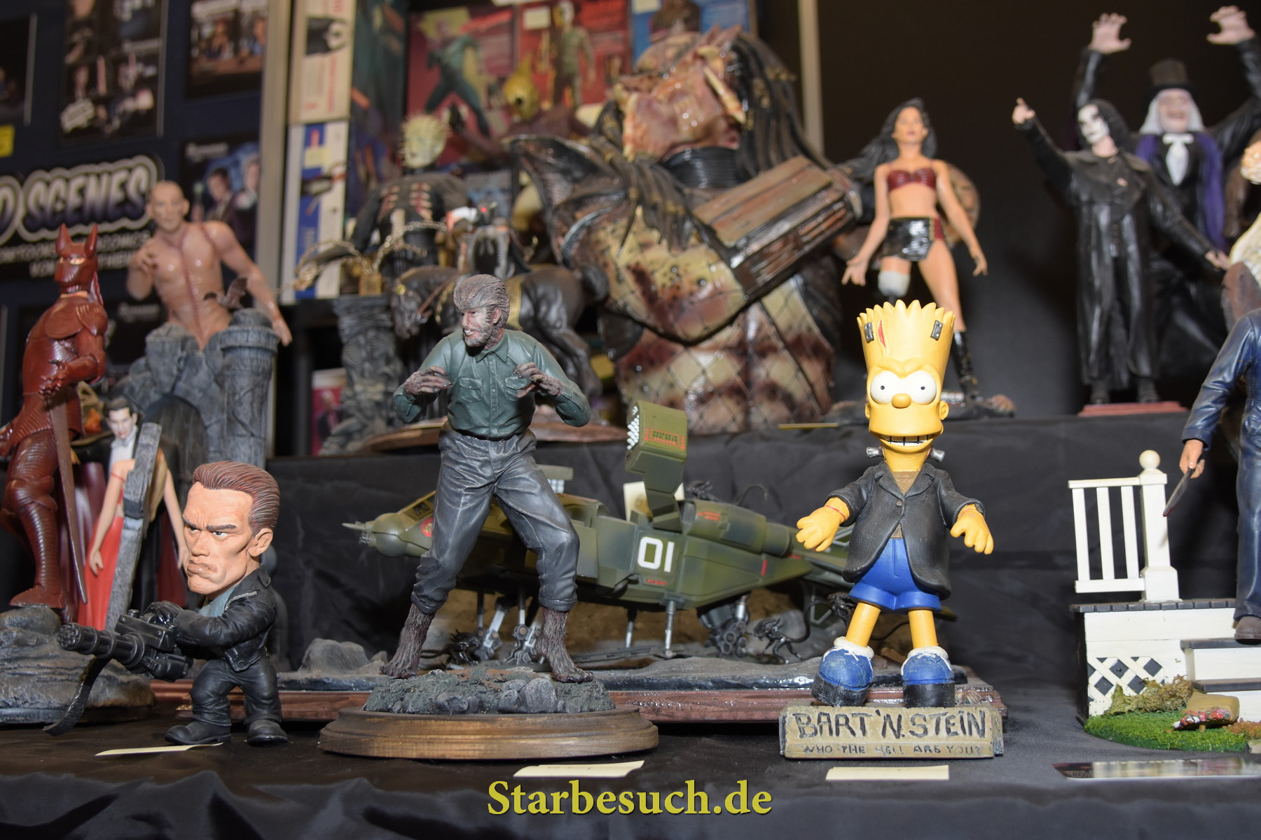 Dortmund, Germany - December 9th 2017: Impression from German Comic Con Dortmund: Statues at Vendor Booth. More than 30 celebrities attended the event to meet their fans, sign autographs and do photoshoots.