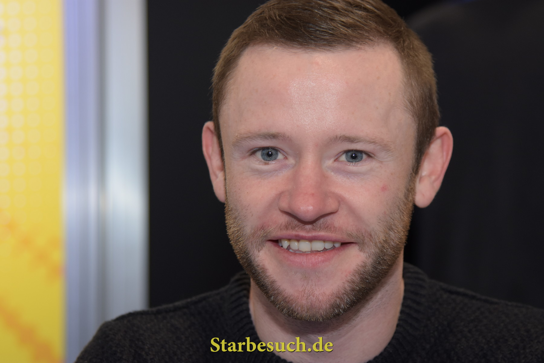 Dortmund, Germany - December 9th 2017: British Actor Devon Murray (* 1988,  Seamus Finnigan in the Harry Potter film series) at German Comic Con Dortmund. More than 30 celebrities attended the event.