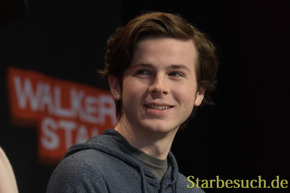 MANNHEIM, GERMANY - MARCH 18: Actor Chandler Riggs (The Walking Dead), panel, at Walker Stalker Germany convention. (Photo by Markus Wissmann)
