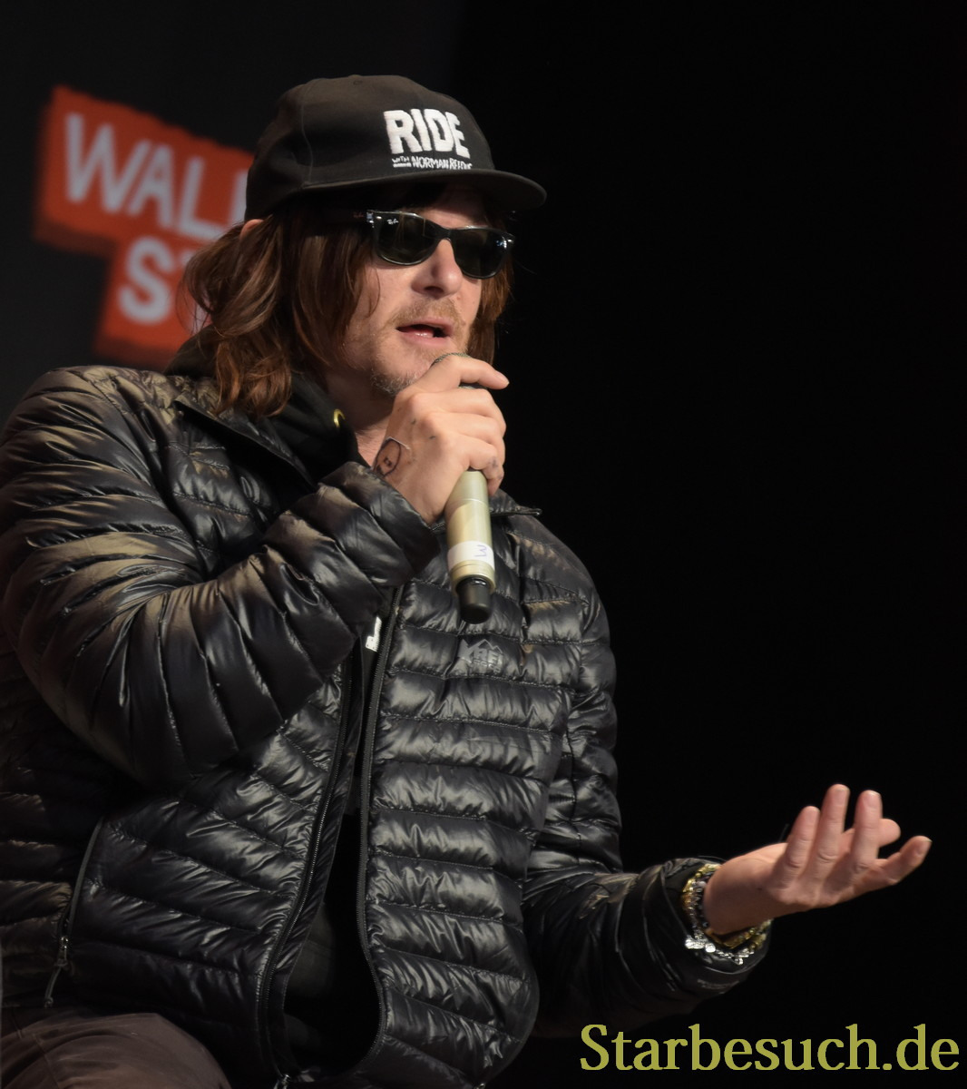 MANNHEIM, GERMANY - MARCH 18: Actor Norman Reedus (The Walking Dead), panel, at Walker Stalker Germany convention. (Photo by Markus Wissmann)