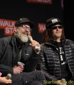 MANNHEIM, GERMANY - MARCH 18: (L to R) Actors Jeffrey Dean Morgan & Norman Reedus (The Walking Dead), panel, at Walker Stalker Germany convention. (Photo by Markus Wissmann)