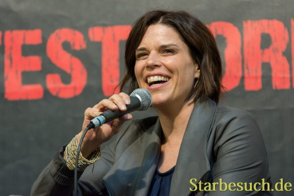DORTMUND, GERMANY - APRIL 8: Actress Neve Campbell (Scream,Wild Things, House of Cards) at Weekend of Hell, a two day (April 7-8 2018) horror-themed fan convention.