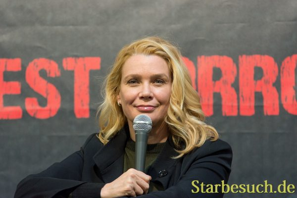 DORTMUND, GERMANY - APRIL 8: Actress Laurie Holden (The Walking Dead, The X-Files, Silent Hill) at Weekend of Hell, a two day (April 7-8 2018) horror-themed fan convention.