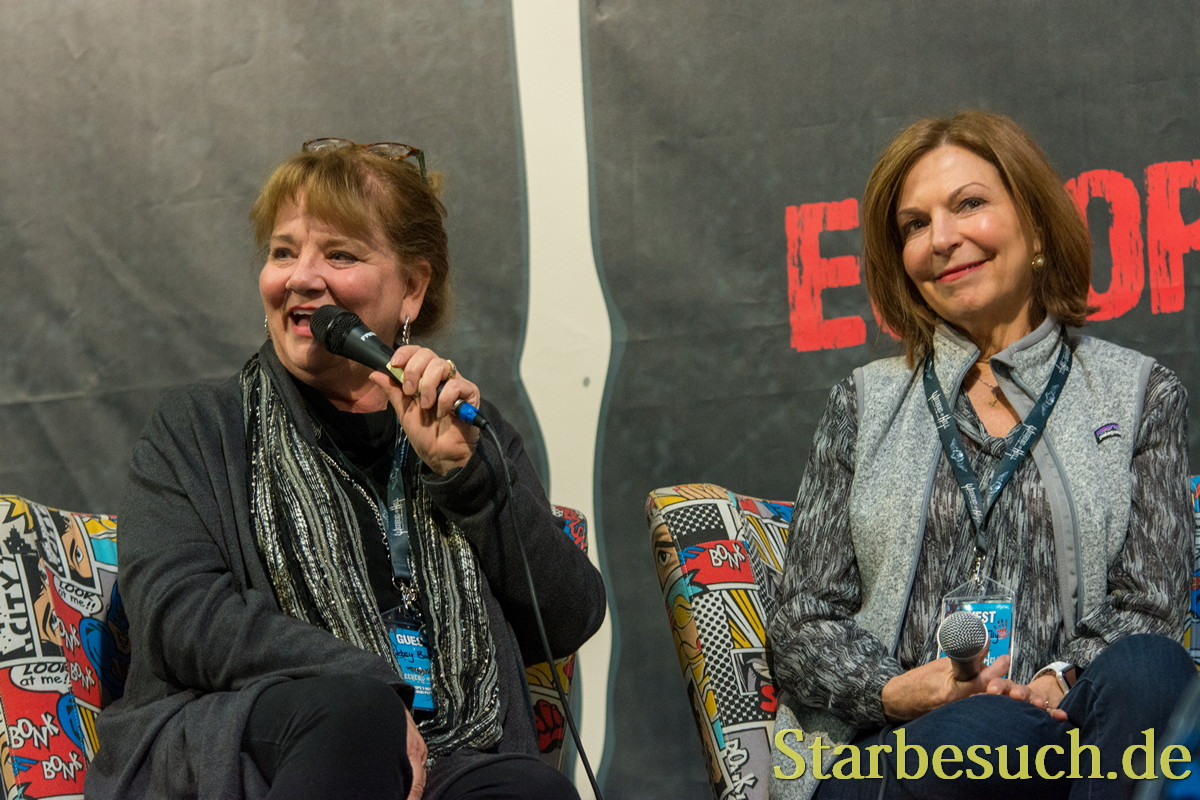 DORTMUND, GERMANY - APRIL 8: (L to R) Actresses Betsy Baker & Theresa Tilly, Evil Dead panel at Weekend of Hell, a two day (April 7-8 2018) horror-themed fan convention.