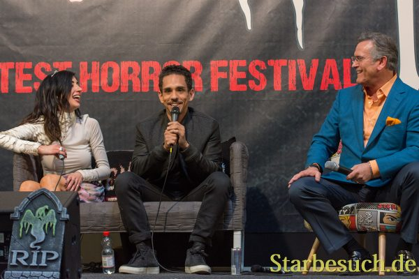 DORTMUND, GERMANY - APRIL 8: (L to R) Actors Dana DeLorenzo, Ray Santiago & Bruce Campbell (Ash vs Evil Dead), at Weekend of Hell, a two day (April 7-8 2018) horror-themed fan convention.