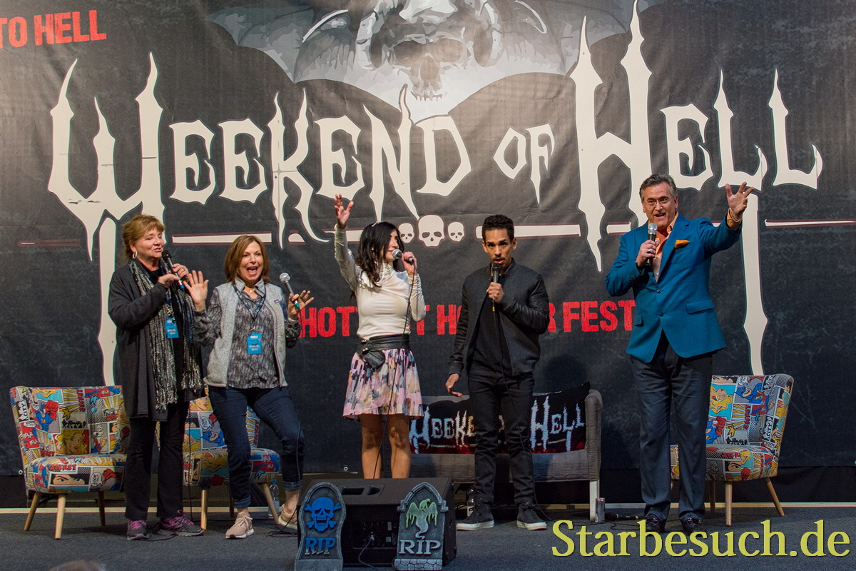 DORTMUND, GERMANY - APRIL 8: (L to R) Actors Betsy Baker, Theresa Tilly, Dana DeLorenzo, Ray Santiago & Bruce Campbell, Evil Dead panel at Weekend of Hell, a two day (April 7-8 2018) horror-themed fan convention.