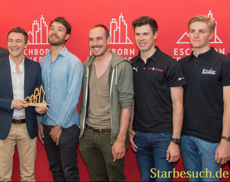 (L-R) Jean-Étienne Amaury, Matthias Geiger, Claude Rach, Rick Zabel, John Degenkolb, Phil Bauhaus, Patrick Haller