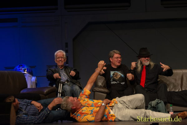 FUERTH, Germany - September 22nd 2018: Puppeters recreating the cantina/Jabba the Hut scene with Mike Edmonds, Dave Barclay, Toby Philpott, Jez Harris and Tim Rose at Noris Force Con 5