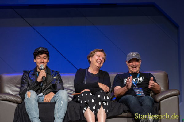FUERTH, Germany - September 22nd 2018: Florian Clyde, Susanna Bonaséwicz and Hans-Georg Panczak at Noris Force Con 5