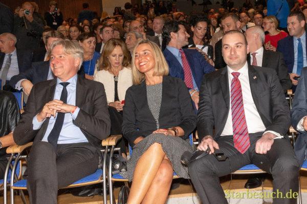 Juergen Boos, Federica Mogherini und Mamuka Bakhtadze (Premierminister Georgien)
