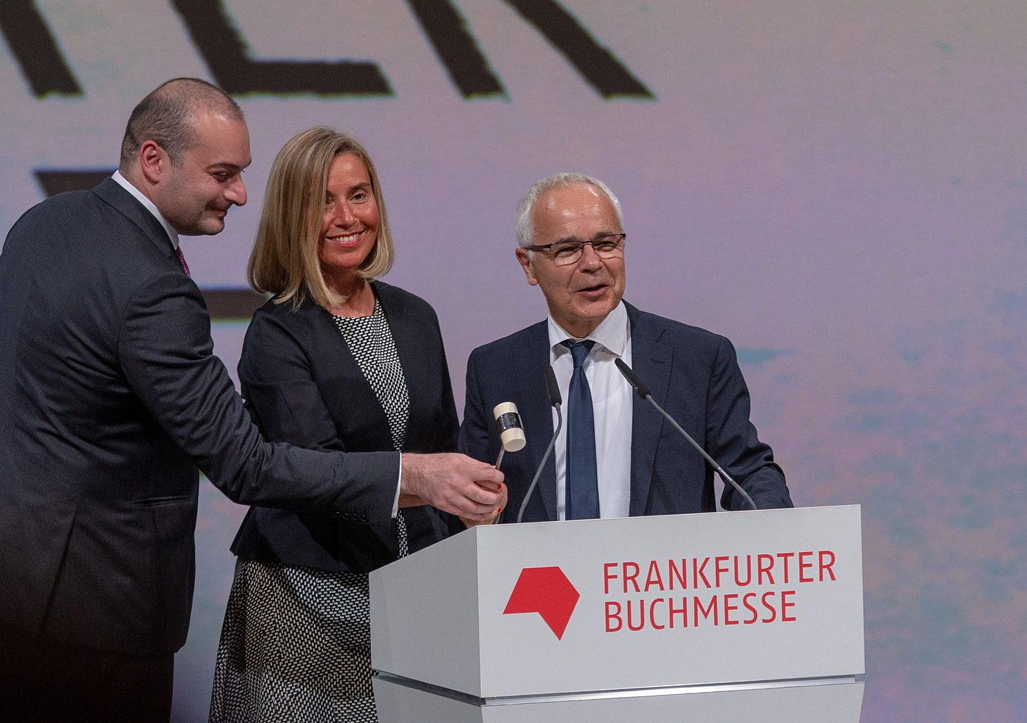 Mamuka Bakhtadze, Federica Mogherini und Heinrich Riethmüller eröffnen die Messe