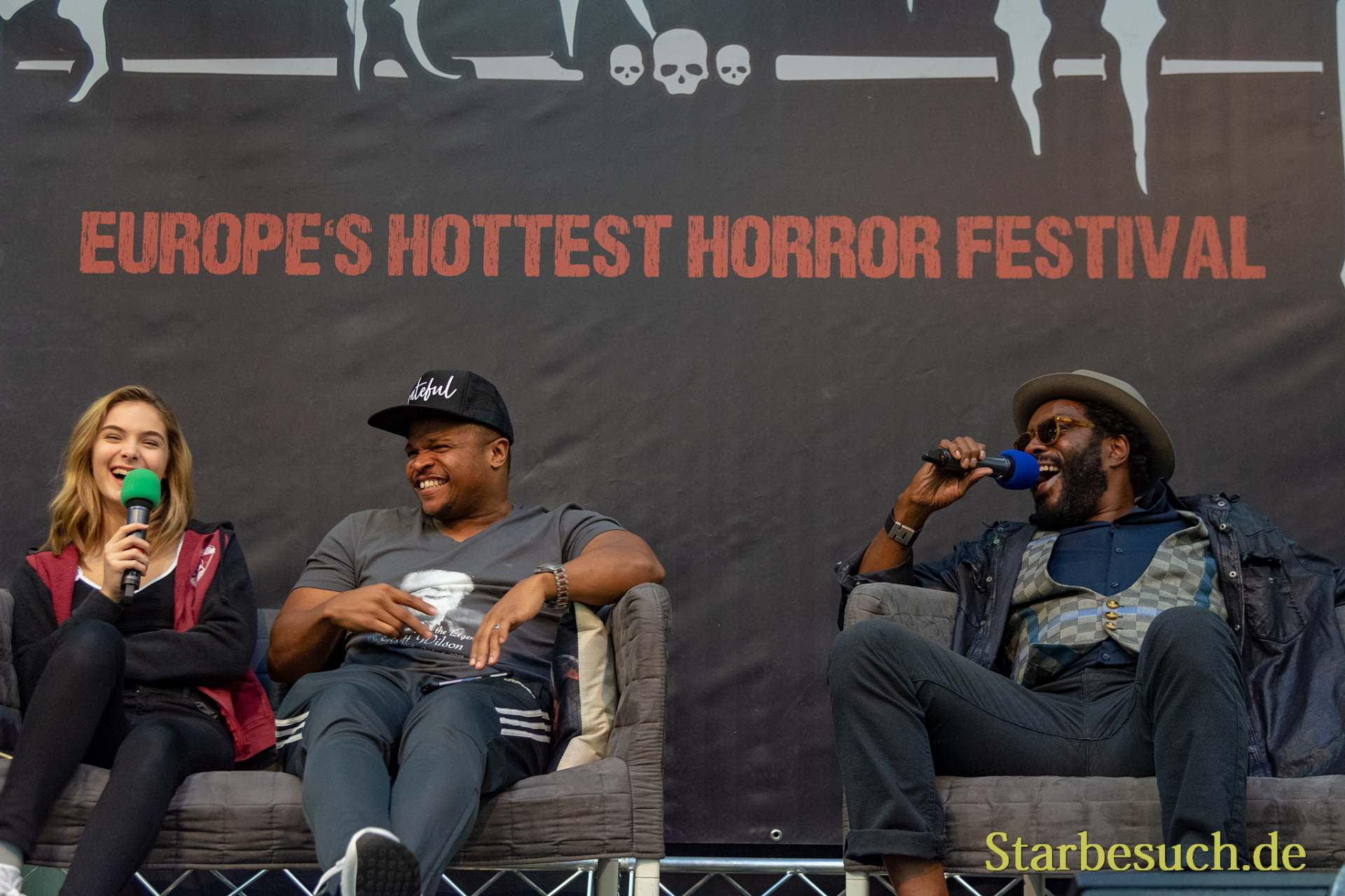 DORTMUND, GERMANY - November 3rd 2018: Brighton Sharbino, IronE Singleton and Chad L. Coleman at Weekend of Hell 2018