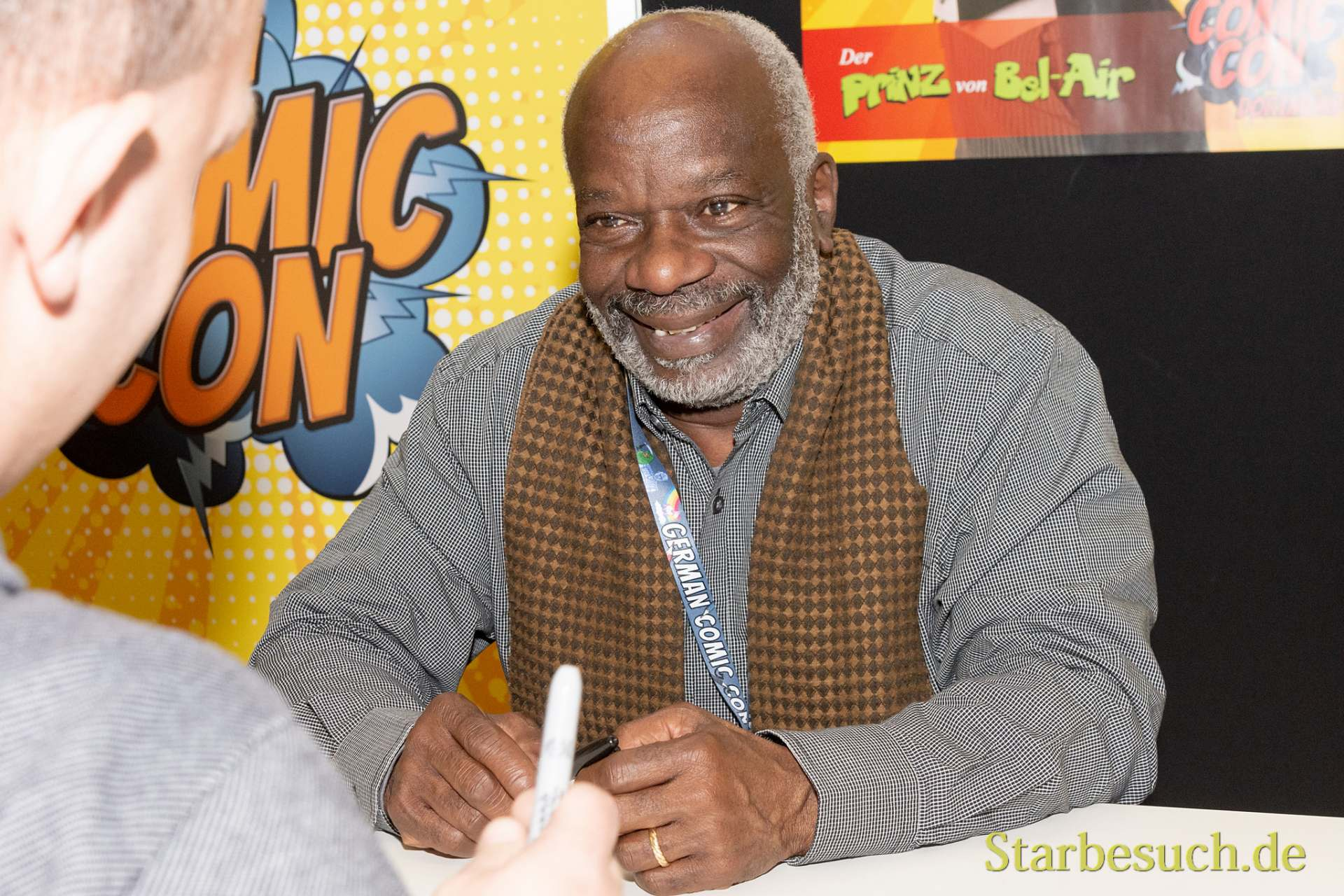 DORTMUND, GERMANY - December 1st 2018: Joseph Marcell (*1948, British actor) is happy to meet fans at German Comic Con Dortmund, a two day fan convention
