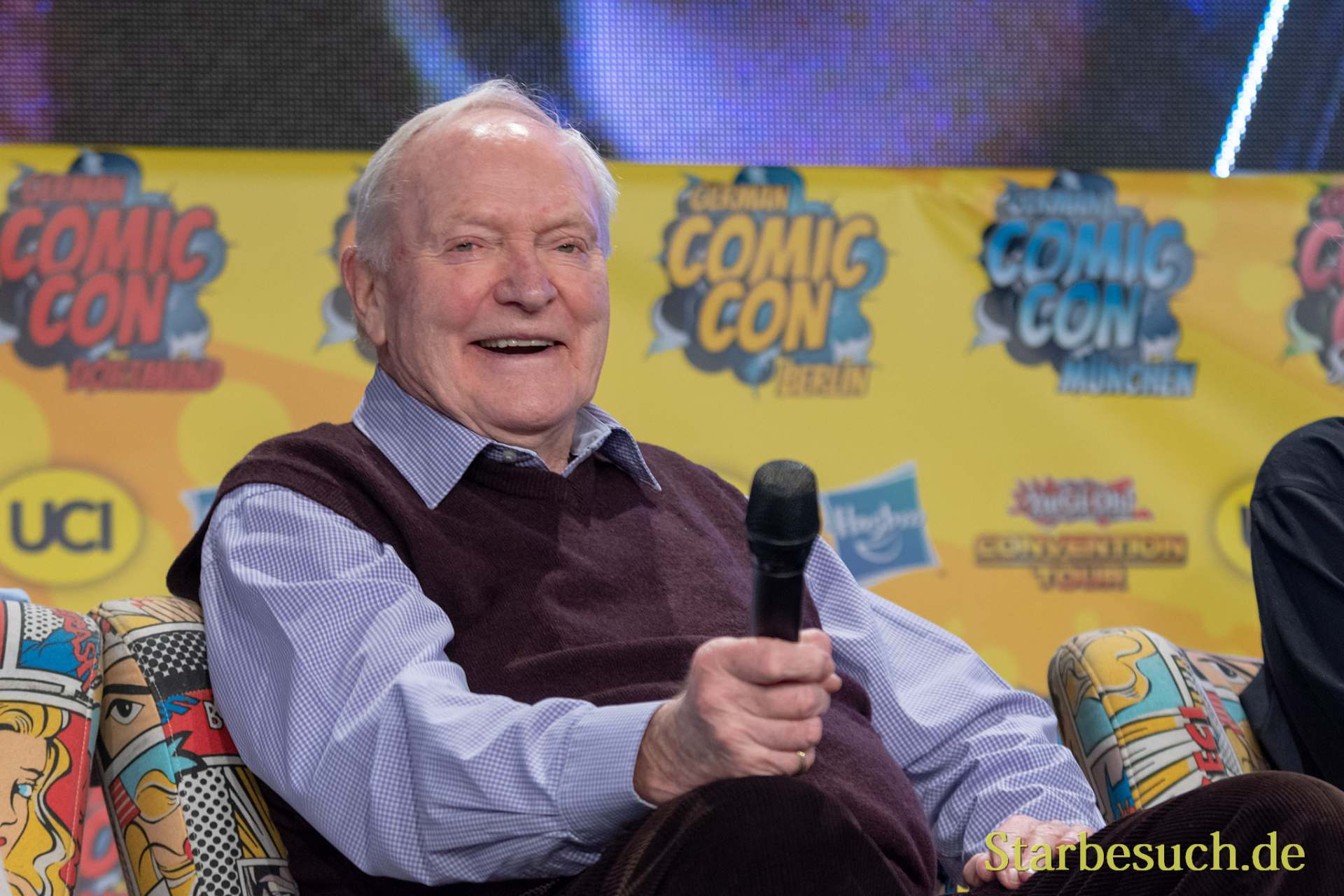 DORTMUND, GERMANY - December 1st 2018: Julian Glover (*1935, English actor) at German Comic Con Dortmund, a two day fan convention