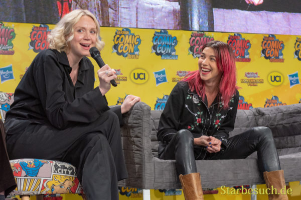 DORTMUND, GERMANY - December 1st 2018: Gwendoline Christie and Natalia Tena at German Comic Con Dortmund, a two day fan convention