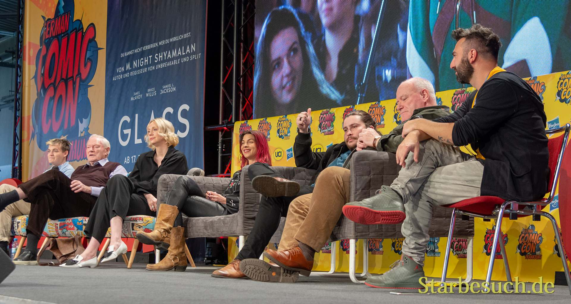 DORTMUND, GERMANY - December 1st 2018: Jack Gleeson, Julian Glover, Gwendoline Christie, Natalia Tena, Daniel Portman and Ron Donachie at German Comic Con Dortmund, a two day fan convention