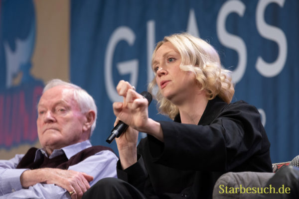 DORTMUND, GERMANY - December 1st 2018: Julian Glover and Gwendoline Christie at German Comic Con Dortmund, a two day fan convention