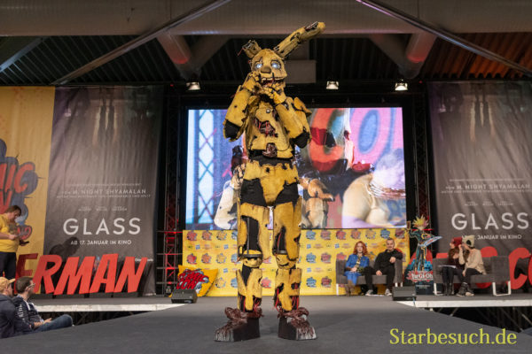 DORTMUND, GERMANY - December 1st 2018: Cosplayer Springlocked Cosplay portrays the character Springtrap from Five Nights at Freddys 3 (Game) at German Comic Con Dortmund, a two day fan convention