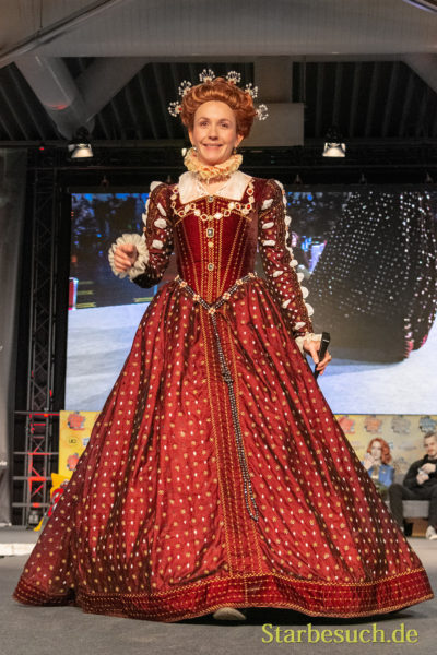 DORTMUND, GERMANY - December 1st 2018: Cosplayer portrays the character Queen Elisabeth I from The Tudors (TV Show) at German Comic Con Dortmund, a two day fan convention