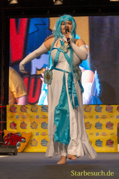 DORTMUND, GERMANY - December 1st 2018: Cosplayer Light 1990 portrays the character Azura from Fire Emblem Fate (Game) at German Comic Con Dortmund, a two day fan convention