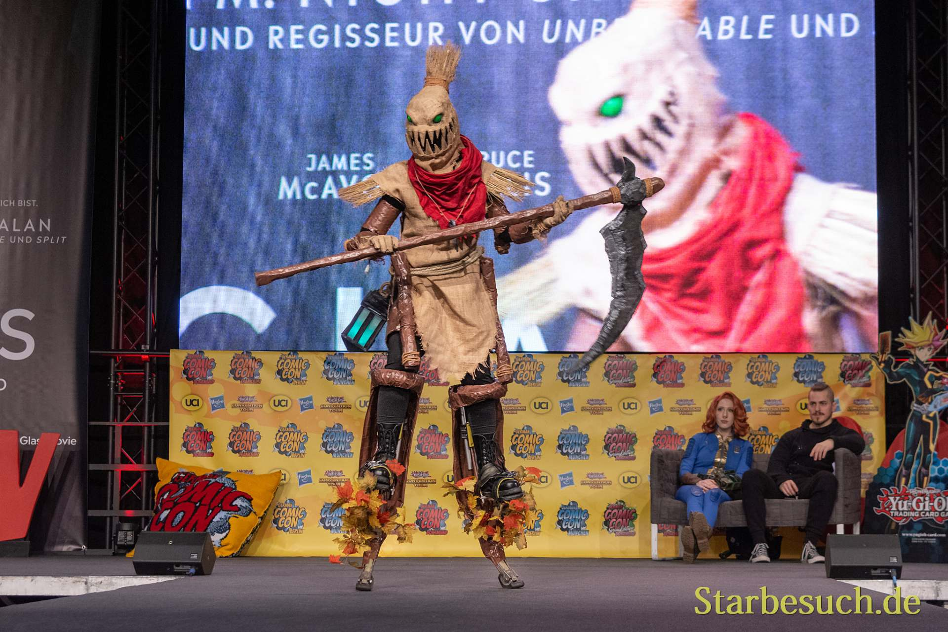 DORTMUND, GERMANY - December 1st 2018: Cosplayer RedNightCosplay portrays the character Fiddlesticks from League of Legends (Game) at German Comic Con Dortmund, a two day fan convention