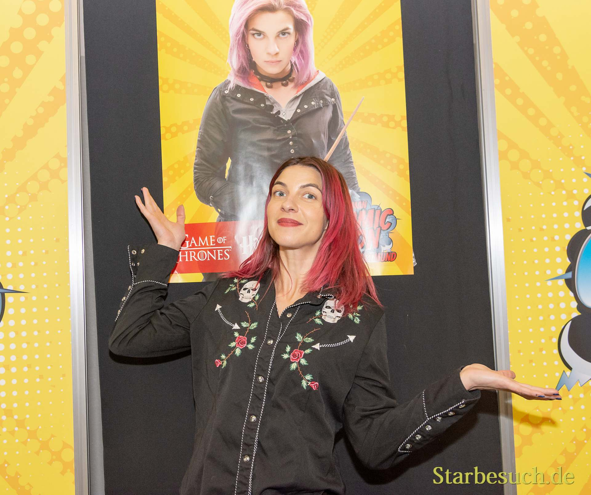 DORTMUND, GERMANY - December 1st 2018: Natalia Tena (*1984, English actress) at German Comic Con Dortmund, a two day fan convention