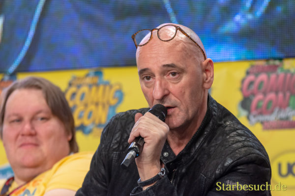 DORTMUND, GERMANY - December 1st 2018: Ingo Albrecht (*1960, actor, german voice of Dwayne Johnson, Laurence Fishburne, Vinnie Jones) at German Comic Con Dortmund, a two day fan convention